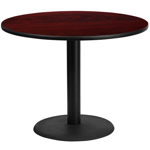 42'' Round Mahogany Laminate Table Top w/24'' Round Table Height Base