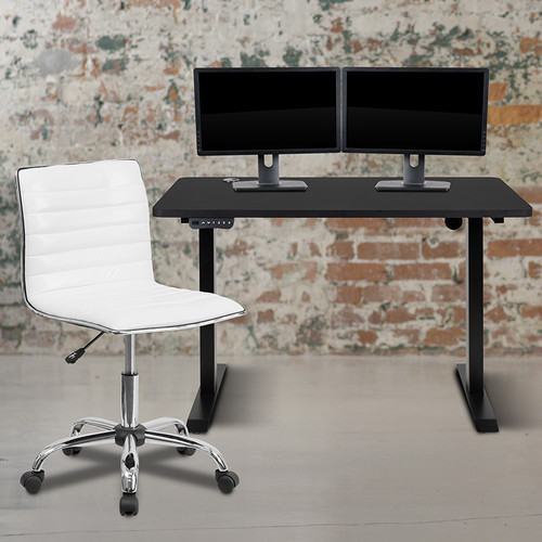 """48"""" Wide Black Electric Height Adjustable Standing Desk w/Designer Armless White Ribbed Swivel Task Office Chair"""