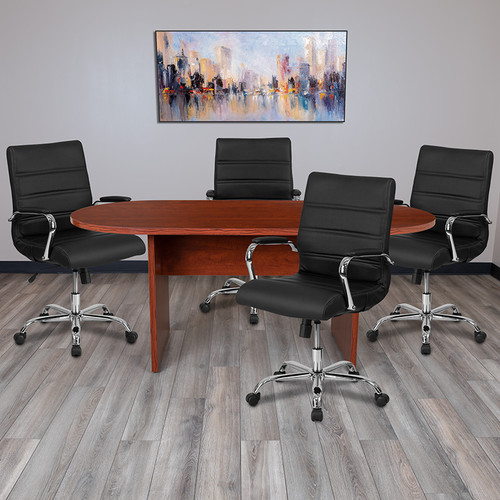 5 Piece Cherry Oval Conference Table Set w/4 Black & Chrome LeatherSoft Executive Chairs