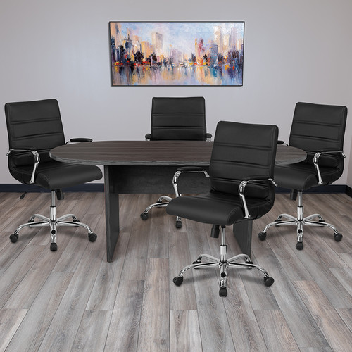 5 Piece Rustic Gray Oval Conference Table Set w/4 Black & Chrome LeatherSoft Executive Chairs