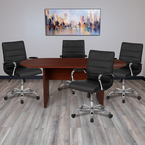 5 Piece Mahogany Oval Conference Table Set w/4 Black & Chrome LeatherSoft Executive Chairs