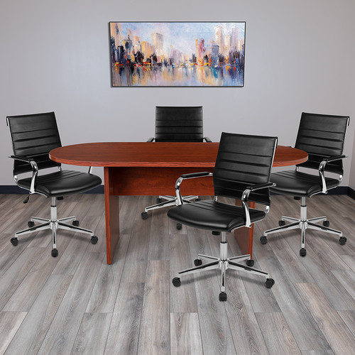 5 Piece Cherry Oval Conference Table Set w/4 Black LeatherSoft Ribbed Executive Chairs