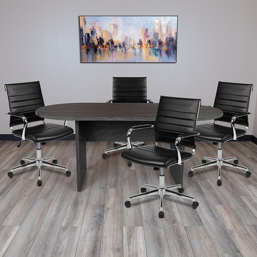 5 Piece Rustic Gray Oval Conference Table Set w/4 Black LeatherSoft Ribbed Executive Chairs