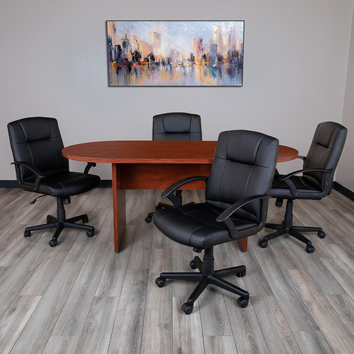 5 Piece Cherry Oval Conference Table Set w/4 Black LeatherSoft-Padded Task Chairs