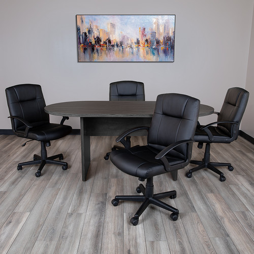 5 Piece Rustic Gray Oval Conference Table Set w/4 Black LeatherSoft-Padded Task Chairs