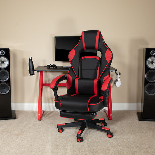 Red Gaming Desk w/Cup Holder/Headphone Hook & Red Reclining Back/Arms Gaming Chair w/Footrest