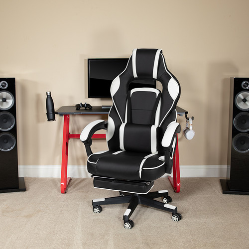 Red Gaming Desk w/Cup Holder/Headphone Hook & White Reclining Back/Arms Gaming Chair w/Footrest