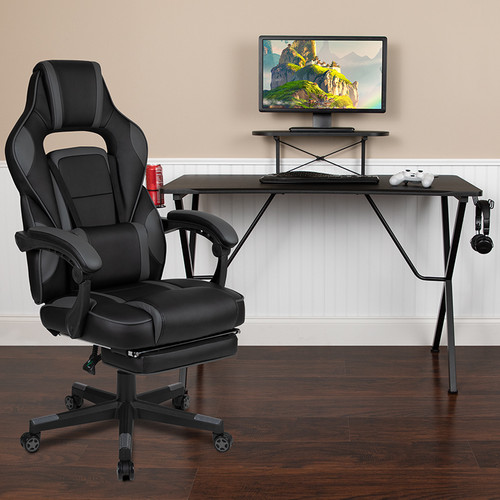 Black Gaming Desk w/Cup Holder/Headphone Hook/Monitor Stand & Black Reclining Back/Arms Gaming Chair w/Footrest