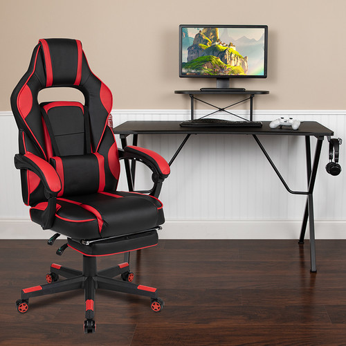 Black Gaming Desk w/Cup Holder/Headphone Hook/Monitor Stand & Red Reclining Back/Arms Gaming Chair w/Footrest