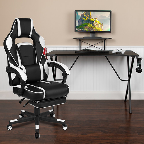 Black Gaming Desk w/Cup Holder/Headphone Hook/Monitor Stand & White Reclining Back/Arms Gaming Chair w/Footrest