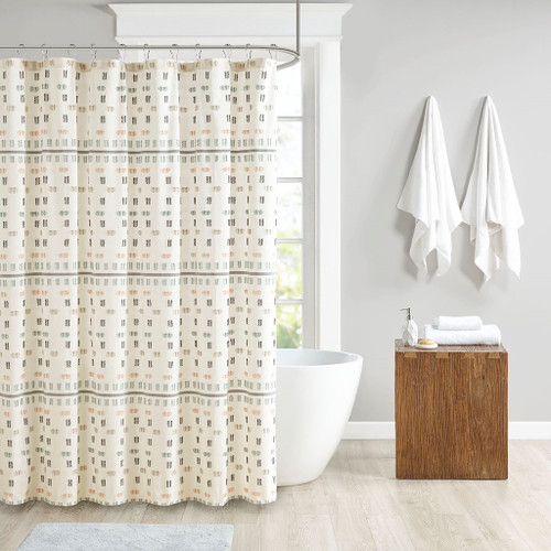 "Aqua Cotton Jacquard Shower Curtain 72x72"" (Arden-Aqua-Shower)"