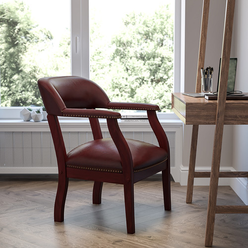 Oxblood Vinyl Luxurious Conference Chair w/Accent Nail Trim