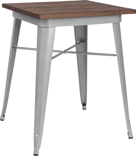 """23.5"""" Square Silver Metal Indoor Table w/Walnut Rustic Wood Top"""