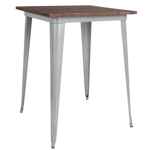 """31.5"""" Square Silver Metal Indoor Bar Height Table w/Walnut Rustic Wood Top"""