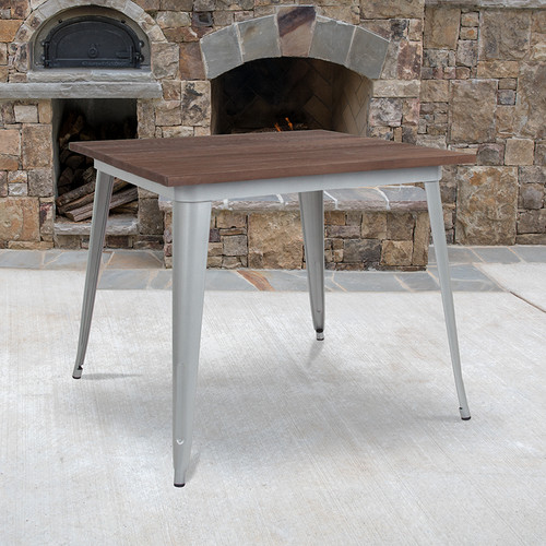 """36"""" Square Silver Metal Indoor Table w/Walnut Rustic Wood Top"""