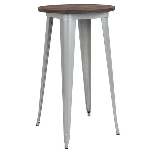 """24"""" Round Silver Metal Indoor Bar Height Table w/Walnut Rustic Wood Top"""