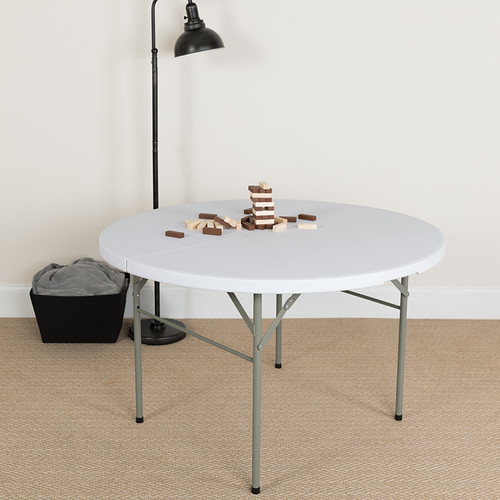 4-Foot Round Bi-Fold Granite White Plastic Banquet & Event Folding Table w/Carrying Handle