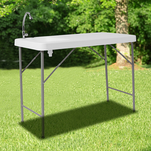 4-Foot Portable Fish Cleaning Table / Outdoor Camping Table & Sink