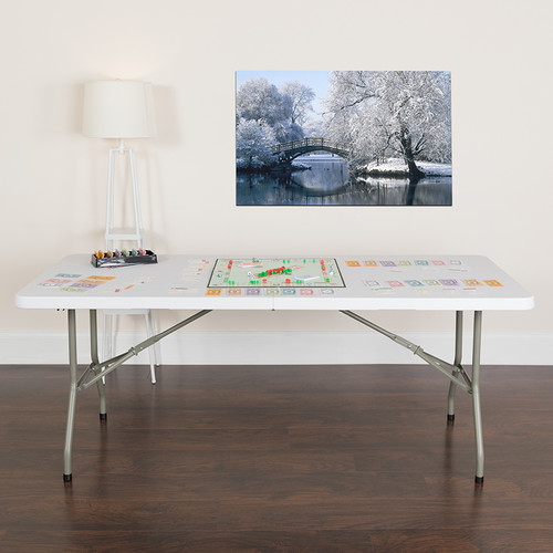6-Foot Bi-Fold Granite White Plastic Banquet & Event Folding Table w/Carrying Handle