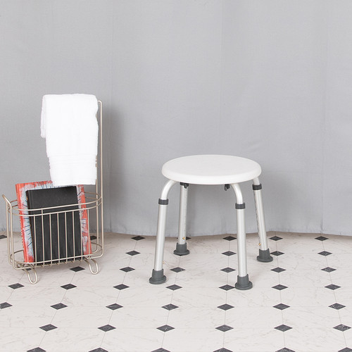 HERCULES Series Tool-Free & Quick Assembly, 300 Lb. Capacity, Adjustable White Bath & Shower Stool