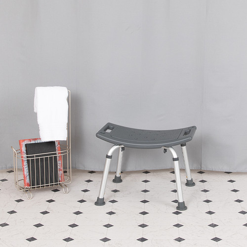 HERCULES Series Tool-Free & Quick Assembly, 300 Lb. Capacity, Adjustable Gray Bath & Shower Chair w/Non-slip Feet