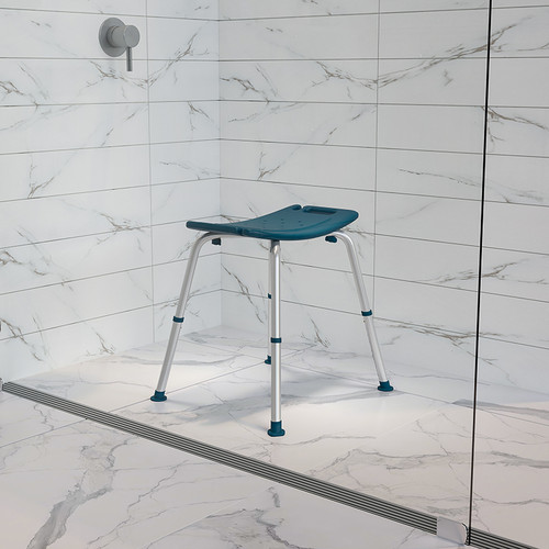 HERCULES Series Tool-Free & Quick Assembly, 300 Lb. Capacity, Adjustable Navy Bath & Shower Chair w/Non-slip Feet