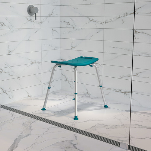 HERCULES Series Tool-Free & Quick Assembly, 300 Lb. Capacity, Adjustable Teal Bath & Shower Chair w/Non-slip Feet
