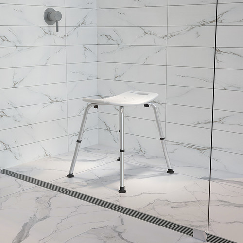 HERCULES Series Tool-Free & Quick Assembly, 300 Lb. Capacity, Adjustable White Bath & Shower Chair w/Non-slip Feet