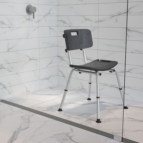 HERCULES Series Tool-Free & Quick Assembly, 300 Lb. Capacity, Adjustable Gray Bath & Shower Chair w/Back