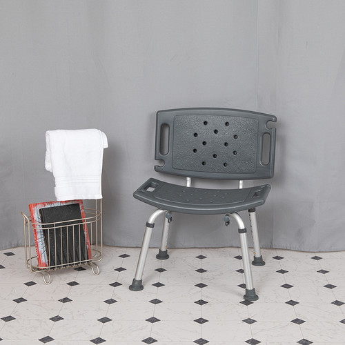 HERCULES Series Tool-Free & Quick Assembly, 300 Lb. Capacity, Adjustable Gray Bath & Shower Chair w/Extra Large Back
