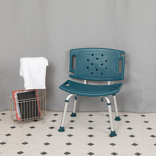HERCULES Series Tool-Free & Quick Assembly, 300 Lb. Capacity, Adjustable Navy Bath & Shower Chair w/Extra Large Back