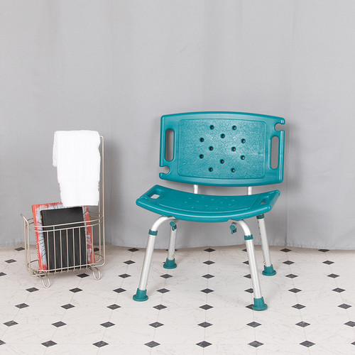 HERCULES Series Tool-Free & Quick Assembly, 300 Lb. Capacity, Adjustable Teal Bath & Shower Chair w/Extra Large Back