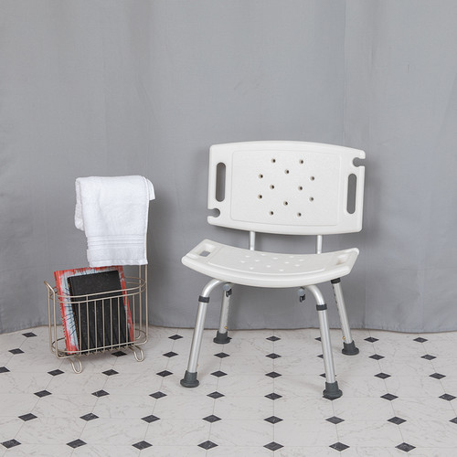 HERCULES Series Tool-Free & Quick Assembly, 300 Lb. Capacity, Adjustable White Bath & Shower Chair w/Extra Large Back