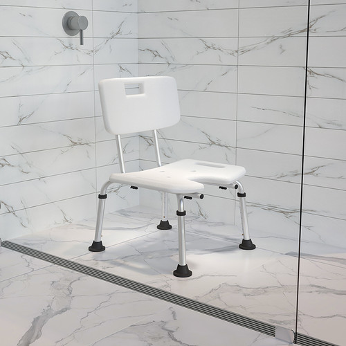 HERCULES Series Tool-Free & Quick Assembly, 300 Lb. Capacity, Adjustable White Bath & Shower Chair w/U-Shaped Cutout