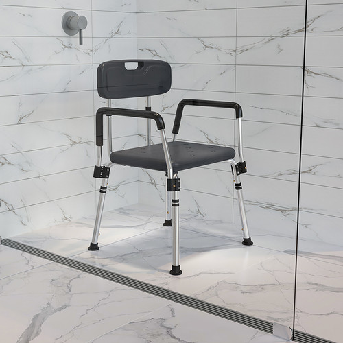 HERCULES Series 300 Lb. Capacity Adjustable Gray Bath & Shower Chair w/Quick Release Back & Arms