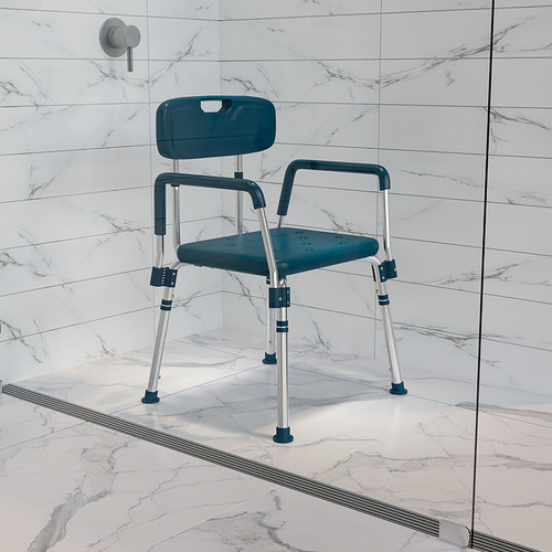 HERCULES Series 300 Lb. Capacity Adjustable Navy Bath & Shower Chair w/Quick Release Back & Arms