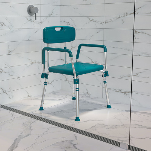 HERCULES Series 300 Lb. Capacity Adjustable Teal Bath & Shower Chair w/Quick Release Back & Arms