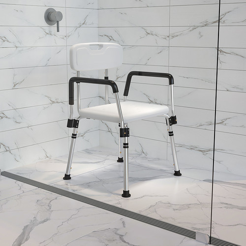 HERCULES Series 300 Lb. Capacity Adjustable White Bath & Shower Chair w/Quick Release Back & Arms