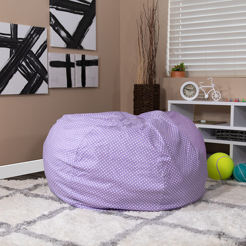 Oversized Lavender Dot Bean Bag Chair for Kids & Adults