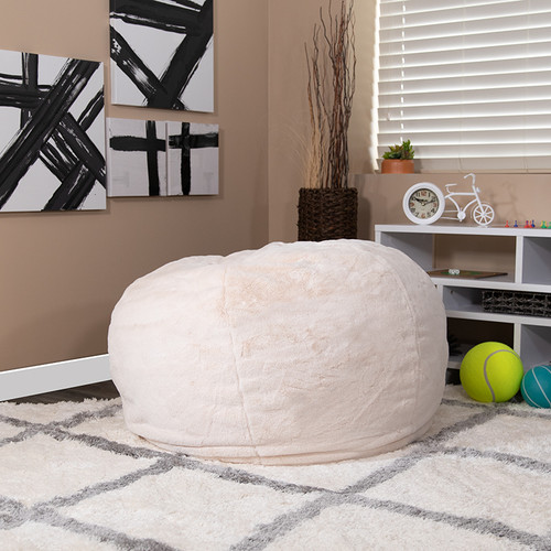 Oversized White Furry Bean Bag Chair for Kids & Adults
