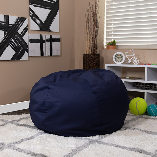 Oversized Solid Navy Blue Bean Bag Chair for Kids & Adults