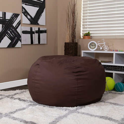 Oversized Solid Brown Bean Bag Chair for Kids & Adults
