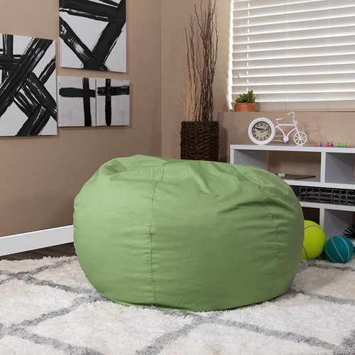 Oversized Solid Green Bean Bag Chair for Kids & Adults