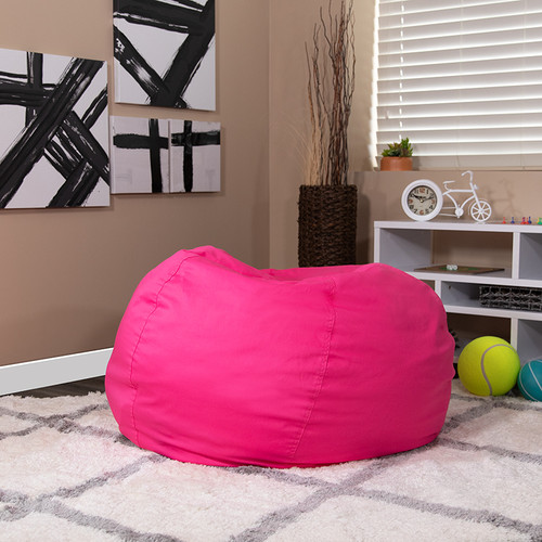 Oversized Solid Hot Pink Bean Bag Chair for Kids & Adults