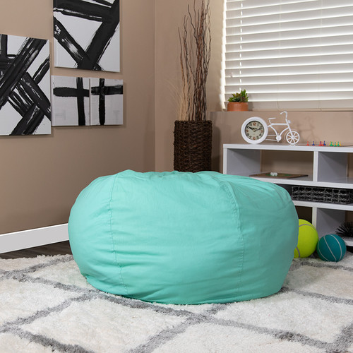 Oversized Solid Mint Green Bean Bag Chair for Kids & Adults