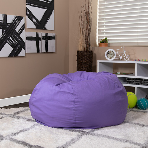 Oversized Solid Purple Bean Bag Chair for Kids & Adults