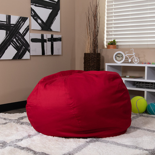 Oversized Solid Red Bean Bag Chair for Kids & Adults