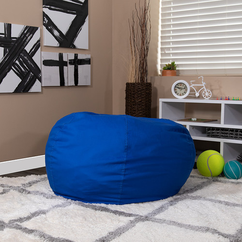 Oversized Solid Royal Blue Bean Bag Chair for Kids & Adults