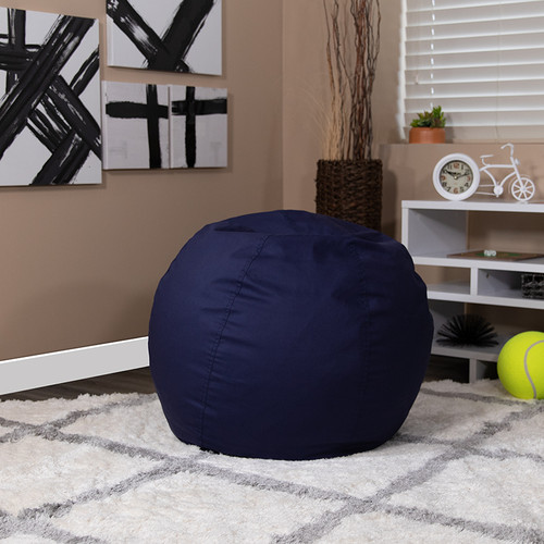 Small Solid Navy Blue Bean Bag Chair for Kids & Teens