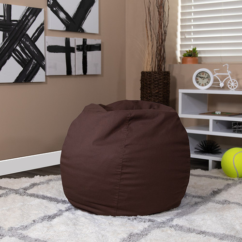 Small Solid Brown Bean Bag Chair for Kids & Teens